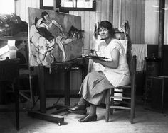 Suzanne Valadon in her studio. A student of Henri de Toulouse-Lautrec, Mother of Maurice Utrillo.