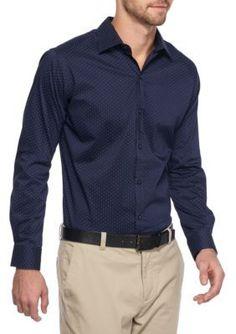 Van Heusen Blue Slim Fit Flex Stretch Mini Dot Shirt