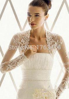 $19.6 2015 Spring White Ivory New Fashion Women Sheer Long Sleeve Lace Bridal lace bolero Wedding Jacket