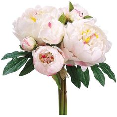 """Peony Silk Bridal Bouquet in Cream White14"""" Tall ($15) ❤ liked on Polyvore featuring home, home decor, floral decor, peony artificial flowers, creme bouquet, fake silk flowers, silk flower arrangement and silk peony arrangement"""