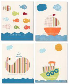 On The Sea Set Of 4 Personalized Nursery Art Prints by LittleMonde Nursery Wall decor baby boy nursery oranger green lemon blue nursery mixed media collage original art, $50.00