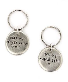 Look at this #zulilyfind! Silver Pebble Personalized Key Chain Set by Bliss Stamped Jewelry #zulilyfinds