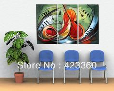 Freeshipping!Hand-painted Music Notes Modern guitar artwork  High Q. Wall Decor Abstract Oil Painting on canvas 3pcs/set mixorde US $41.98