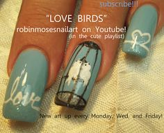 Nail-art by Robin Moses: love bird nails, lovebird nails, birds in a cage nails, birdcage nails, in love with nails, caged love, simple teal nails, teal nails, teal the cows come home, teal we drop, teal we meet again, easy french manicure tutorial, robin moses, opi skyfall, opi skyscraper,