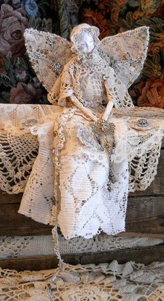 upcycled doily doll