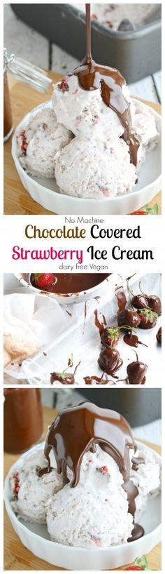 Chocolate Covered Strawberry Ice Cream (vegan, Dairy Free) (Paleo)-use Paleo Magic Shell, coconut sugar
