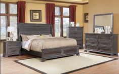 The Merlin Bedroom Set brought to you by the Kwality K-Living Collection is gorgeous! The rustic/distressed look of the headboard, dresser, mirror & nightstand show wonderfully in these rich grey & brown colors. This versatile set will accompany any decor by enhancing the style of bedding you choose to accent it with. King Bedroom Sets, Queen Bedroom, Mirrored Nightstand, Dresser With Mirror, King Beds, Queen Beds, Furniture Styles, Furniture Design, Queen Headboard