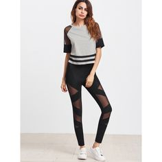 SheIn(sheinside) Black Mesh Insert Striped Leggings (91 DKK) ❤ liked on Polyvore featuring mesh inset leggings, striped leggings, stripe pants, stripe leggings and striped pants