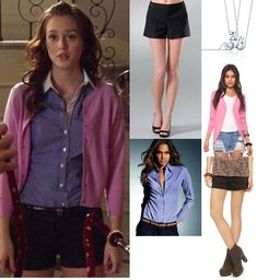 The Handmaiden's Tale | Blair Waldorf  What Shes Wearing: Theory Denami Shorts, Zara Button Down, Alex Woo b Little Letters Necklace : $158.00  Similar Styles  Forever 21 Cardigan : $29.80, Victorias Secret French Cuff Poplin Shirt : $34.00, Forever 21 Button Front Shorts : $15.80
