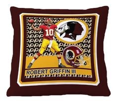 "Biggshots 12P1-103 Washington Redskins Robert Griffin III Toss Pillow, 18-Inch by Biggshots. $29.00. Football room decor with NFL team colors. 100 Percent polyester plush super select fiber filling and machine washable. Football fan pillow 18""x18"" featuring favorite NFL player. Crisp true life action imagery by Biggshots. Official NFL and NFL player association license team bedding. The Biggshots NFL player action sport toss pillow is officially licensed by the N..."