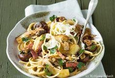 Herzhafte Pasta mit Pilzen und Speck