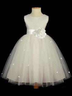 A-line/Princess Scoop Sleeveless Hand-made Flower Long Tulle Flower Girl Dresses