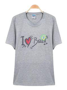 Sale 14% (11$) - Brazil World Cup Letter Print Short Sleeve Souvenir T-shirt