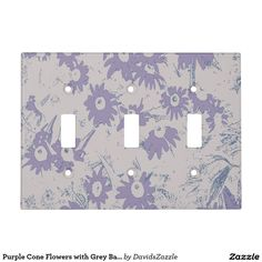 Purple Cone Flowers with Grey Background Light Switch Cover Available on more products, type in the name of this design in the search bar on my products page to view them all!  #cone #daisy #shasta #calendula #purple #grey #blue #floral #flower #pattern #print #all #over #abstract #plant #nature #earth #life #style #lifestyle #chic #modern #contemporary #home #decor