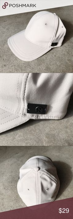 Lululemon Athletica Mens Ball Cap Men's cream colored fitted ball cap by Lululemon. Pre owned condition (has very minimal sweat stains) refer to photos for details. Size: S/M fits like a 7 1/4 fitted baseball hat. All items come from a smoke free home!  Inv: AB lululemon athletica Accessories Hats