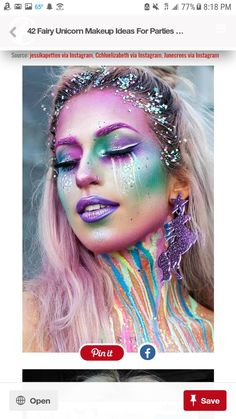 48 LIZORNE FAIRY MAKE-UP IDEAS FOR PARTIES Unicorn make-up is something mystical and ethereal and it's the biggest beauty trend these days. The mixture of rainbow colors is omnipresent today: h. Make up Unicorn Makeup, Unicorn Hair, Mermaid Makeup, Clown Makeup, Deer Makeup, Bunny Makeup, Fish Makeup, Carnival Makeup, Unicorn Party