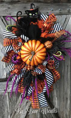 Halloween Swag, Halloween Cat, Halloween Wreath by Ba Bam Wreaths