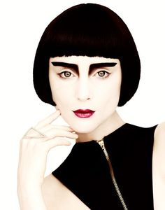 Modern 1920's/German Expressionism Style Makeup, White Face and Graphic Black Brows. Editorial Makeup.