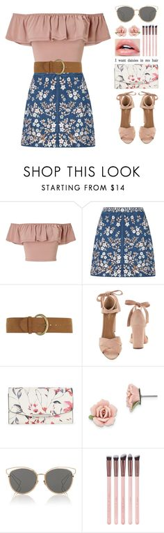 """flora #290"" by brie-the-pixie ❤ liked on Polyvore featuring Miss Selfridge, Needle & Thread, Dorothy Perkins, Aquazzura, Ivanka Trump, 1928 and Christian Dior"
