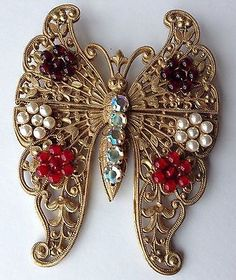 LARGE VINTAGE MIRIAM HASKELL SIGNED BEAD & RHINESTONE BUTTERFLY BROOCH