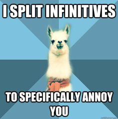 "To boldly split what no man has split before [Picture: Background: 8-piece pie-style color split with alternating shades of blue. Foreground: Linguist Llama meme, a white llama facing forward, wearing a red scarf. Top text: ""I split infinitives"" Bottom text: ""to specifically annoy you.""]"