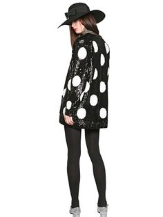 SAINT LAURENT - SEQUINED POLKA DOT CASHMERE CARDIGAN - LUISAVIAROMA - LUXURY SHOPPING WORLDWIDE SHIPPING - FLORENCE