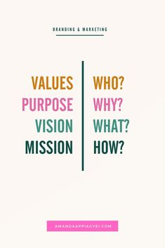 Vision Mission Purpose & Values - What's The Difference? Business Branding, Business Marketing, Business Tips, Online Business, Vision And Mission Statement, Company Vision And Mission, Business Mission Statement, Brand Management, Talent Management