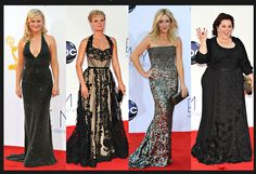 From left, Amy Poehler in Stella McCartney; Martha Plimpton in Christian Siriano; Jane Krakowski in Kaufman Franco; and Melissa McCarthy is in Daniella Pearl.  Credit: From left: Jordan Strauss/Invision, via Associated Press; Robyn Beck/Agence France-Presse — Getty Images; Jordan Strauss/Invision, via Associated Press; Robyn Beck/Agence France-Presse — Getty Images via NYTimes.com #Emmys