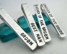 Personalized Tie Clips (set of 4) Groom Father of the Bride and Groom Bestman - Stamped Metal Tie Bars Personalized Wedding Party Gift (001)...