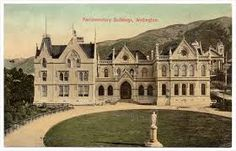 Parliament Buildings This postcard from the early shows the new library. The wooden Parliament buildings (to the left of the library, and not visible here) burned down in December Wellington City, Old Postcards, Auckland, New Zealand, Mansions, House Styles, Buildings, Symbols, Image