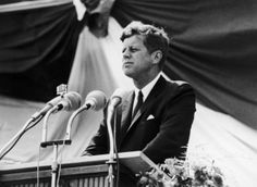 US President John F. Kennedy at the Schoeneberg Town Hall during his visit to Germany. The youthful president carved his own place in history when he stood outside the West Berlin town hall on June 26 1963 to declare US solidarity with the city and the continent with the immortal words; Ich bin ein Berliner