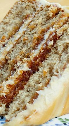 """SALTED CARAMEL LAYER CAKE - """"Layers of brown sugar cake filled and topped with caramel frosting and a drizzle of fresh caramel & fleur de sel make this Salted Caramel Layer Cake a decadent, delicious and almost sinful dessert!""""  