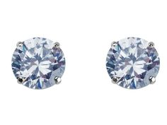 white gold earrings for women solitaire studs with CZ