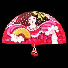 Hand painted wooden Spanish fan