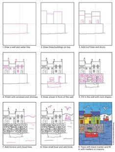 Draw Boats in a Seaside Town Art Projects for Kids Drawing Lessons For Kids, Art Drawings For Kids, Easy Drawings, Art For Kids, Kid Art, School Art Projects, Art School, Town Drawing, Seaside Art