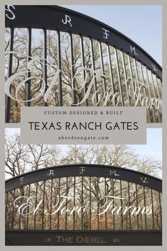 Texas ranch gates have their own flare. This client wanted to incorporate a lot of heritage in his gate, so the design is truly unique. The steel gate is painted satin black, but the ranch name is in white an d on stand-offs to make it pop out. It was a fun project! Let us help you with your driveway gate. #aberdeengate Ranch Names, Weatherford Texas, Custom Gates, Steel Gate, Texas Ranch, Modern Ranch, Driveway Gate, South Texas, Iron Gates