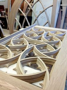 Historic Doors' Worshipful Woodwork at Bryn Athyn Cathedral Gothic Furniture, Curved Wood, Keep The Faith, Wishbone Chair, White Oak, Woodworking Projects, Cathedral, Doors, Traditional