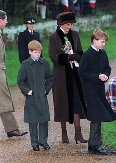 Christmas day, 1994; Princess Diana, Princes's William and Harry and Charles.  The boys look cold!