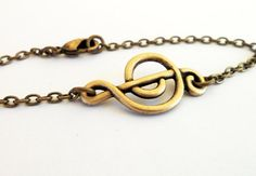Steampunk Music Note Bracelet Antiqued Brass Music by bellamantra, $18.00