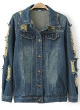 Navy Long Sleeve Bleached Ripped Denim Outerwear