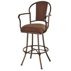 "Callee Charleston 26"" Swivel Bar Stool Frame Finish: Sun Bronze, Upholstery: Corona Earth"