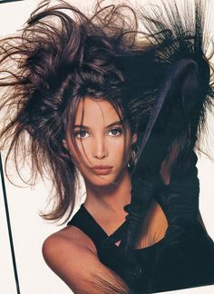 Vogue UK, December 1987 ('The Cocktail Party'). Christy Turlington photographed by Patrick Demarchelier.