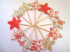 Multicolor Flower Cupcake Toppers Bridal shower food by Wcards, $3.00