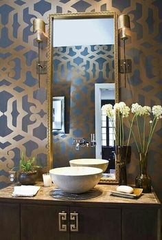 36 best wallpaper in bathrooms images washroom bath room rh pinterest com
