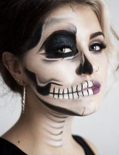 DIY Halloween Makeup Tutorial for an Edgy Half Face Skull by june