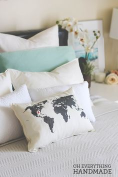 Romantic Bedroom Reveal - our Heart Marks the Spot Pillow on Oh Everything Handmade!