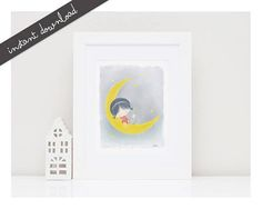 Girls Room Wall Art ''Girl, Cat and the Moon'' Printable Watercolor Illustration Girls Room Decor Nursery Wall Decor Baby Girl Nursery Decor Baby Boy Decorations, Baby Girl Nursery Decor, Boys Room Decor, Baby Boy Rooms, Nursery Wall Decor, Girl Gift Baskets, Baby Diy Projects, Nursery Night Light, Baby Shower Gifts For Boys