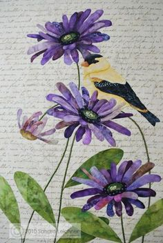 Quilted Goldfinch and Purple Flowers