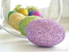 Glitter Eggs!!! I'm going to blow out the yolks of some eggs, paint on some craft glue and sprinkle generously with glitter! Fabulous!