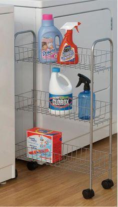 Amazon.com - Household Essentials Slim Line 3-Tier Metal Storage Cart, Satin Silver - Kitchen Storage Carts